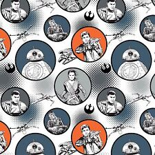 Star Wars The Force Awakens Fabric - Badges - White - 100% Cotton