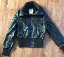 Ladies Brown Faux Leather Jacket In Vgc