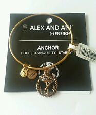 Alex and Ani Anchor Charm Bangle Bracelet BOX NWT Nautical Rafaelian Gold