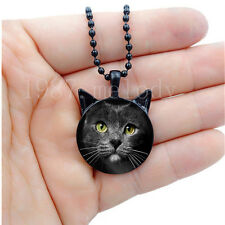 Photo Cabochon Glass chain Black Necklace(cute Gray cat)with ears pendant