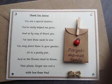 Thank You Special Teacher Poem Magnet. Personalised Ladybird Forget-me-not Seeds