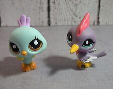 Littlest Pet Shop lot of 2 LPS birds  #1719 blue peacock #2131 purple woodpecker
