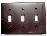 Vintage Beco 3 Gang Switch Wall Plate Cover 2 Vertical Ribs Brown Bakelite Deco