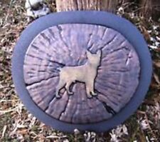 "Boston terrier log stepping stone mold reusable casting mould 13"" x 12"" x 1.5"""