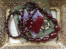 VINTAGE TRANSLUCENT RED CHERRY AMBER BAKELITE OBLONG BEADS NECKLACE 65 GR