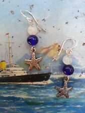 Starfish earrings! Sea holiday pewter + antique cobalt blue beads/moonstone .925