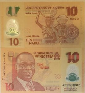 NIGERIA 10 NAIRA UNC BANKNOTE (NIGERIAN CURRENCY) 10 NGN AFRICAN PAPER MONEY
