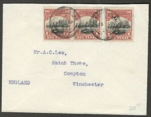 Cook Islands Penrhyn 1920 1dx3 on cover to England SG 33 £51 as used (x6 on cove