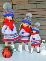 """Effner 13"""" Little Darling and Sisters  Hand Knit 9 pc OUTFIT for Christmas Wear"""