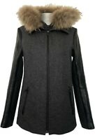 SOIA & KYO DARK GRAY CONVERTIBLE PARKA COAT WITH LEATHER SLEEVES, XS, $895