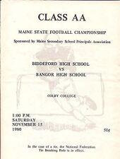 Biddeford Maine VS Bangor Maine High School AA Championship Program 1980