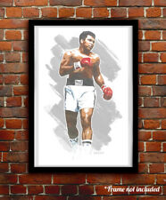 MUHAMMAD ALI watercolor painting art print/poster CASSIUS CLAY FREE S&H!