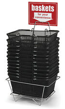 """12 Shopping Metal Baskets Black Wire Mesh 17"""" x 12 x 7 Metal Stand Large Sign"""
