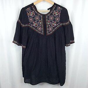 Zara TRF Collection Romper Womens XS Black Embroidered Tunic Shorts Mini Dress