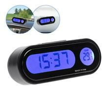 12V LCD Digital LED Car Electronic Time Clock Thermometer With Backlight Pro #