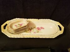 Antique Hand Painted Porcelain Serving Dish 4 Salt Cellars Pink White Rose
