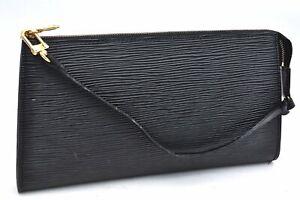 Authentic Louis Vuitton Epi Pochette Accessoires Pouch Black LV A2946