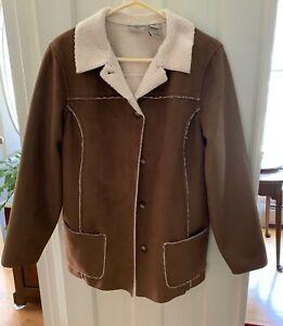 Nice LLBean Women's Large Petite Coat 3/4 Length Brown And Tan 100% Polyester
