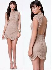 NWT Bebe brown nude crochet lace open back mock neck mini top dress XS 2 club