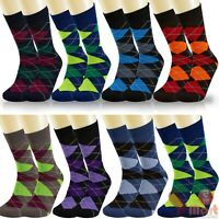 6, 12 Pair Mens Colorful Argyle Pattern Designer Fashion Funky Dress Socks 10-13