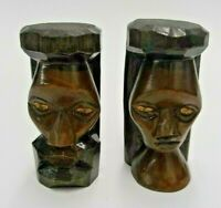 """LOT OF 2 HAND CARVED WOOD WOODEN FACE FIGURES 3.5"""" TALL MAN & WOMAN FOLK ART"""