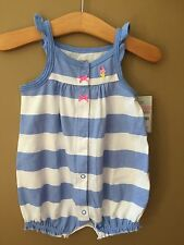 Girls Blue Stripe Knit Romper 9 Months NEW NWT Ice Cream Cone Carter's $14