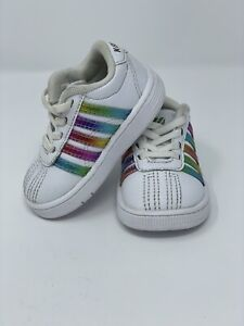 K-Swiss Girls' Classic Pro, Toddler Size 3 White & Rainbow Leather Sneakers GUC