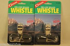 2 Pk Brass Coach Whistle W/Lanyard-Sports Safety Umpire Referee Official Deluxe!