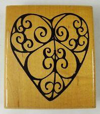 "Filigree Heart Valentine Rubber Stamp JRL T445 2.75 x 1.5 """