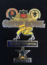 Large 2-piece Super Bowl Xii World Champions Dallas Cowboys V Denver Broncos Pin