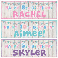 2 PERSONALISED BUNTIN BIRTHDAY BANNERS - 1st 2nd 3rd 4th 5th 6th 7th 8th 9th