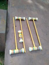 """Complete 4+  Used Vintage Forster 24"""" Wooden Croquet  Mallets replacements"""