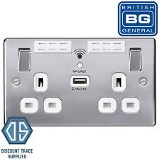 BG Polished Chrome 13A Double Socket Wi-Fi Range Extender USB Charger NPC22UWRW