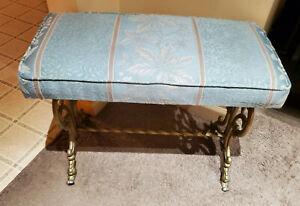 vintage victorian gold cast iron bench vanity stool drake patent blue floral