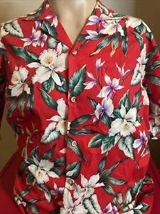 Vintage Evergreen Island Hawaiian Shirt Made in Hawaii Red Men's Medium