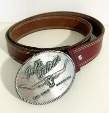 """New RM Williams Logo Brown 1 1/2"""" Western Cowboy Leather Belt Size 44"""