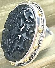 """Silpada .925 Sterling Silver Carved Black Agate """"Into The Night"""" Ring Sz 7 R3362"""