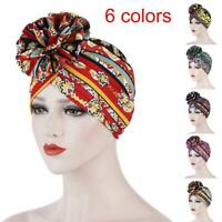 Fashion Women Twist Flower Turban Printed Headwear Turban Cap Hair Accessories