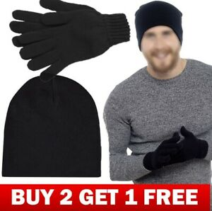 Mens Hat and Gloves Set Thermal Warm Winter Set Buy 2 Set Get 1 Free