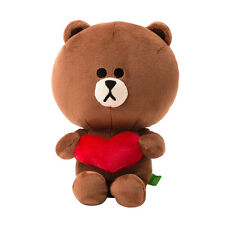 [LINE FRIENDS] Heart Brown Bear 25cm 9.8inch Plush Doll Sitting Posture 1ea