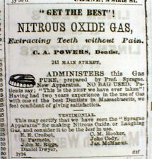 1866 Hartford CT newspaper DENTIST AD w Nitrous oxide used as dental ANESTHESIA