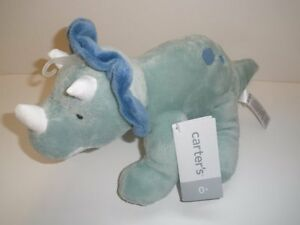NWT Carters Green Blue Plush Dinosaur Dino Triceratops Stuffed Baby Toy 66843
