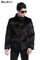 New Natural Rabbit Fur Mens Black Coat Jacket.