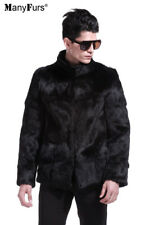 New Natural fourrure de lapin Homme Manteau Noir Veste.
