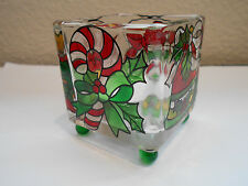 Candy Cane Christmas Stocking Stained Glass Tealight Candle Holder Joan Baker