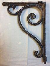 SET OF 2 RUSTIC  BROWN SCROLL BRACE/BRACKET vintage looking patina finish