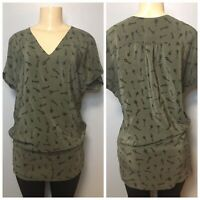 Joie 100% Silk Green Tunic Top w Cap Sleeve Key Print Blouse Size Small