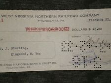 West Virginia Northern Railroad Co. Cancelled Check 1933   FREE SHIPPING !!