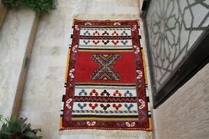Moroccan Rug Authentic Handmade Berber Vintage Tribal Azilal 100% wool