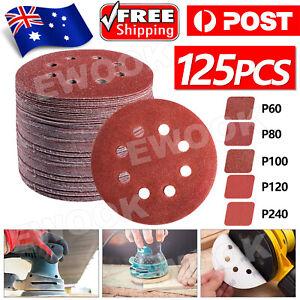 "125x 125mm 5"" Sanding Discs 60 80 100 120 240 Grit Orbital Sander Pads Sandpaper"